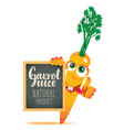 banner for fresh juice with funny carrot vector image vector image