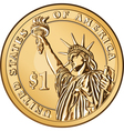 american money one dollar coin vector image vector image