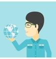 Businessman holding Earth globe vector image