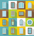 plastic window forms icons set flat style vector image