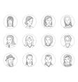 Women avatar set thin line vector image