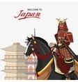 Samurai and horse cartoon design vector image vector image