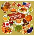 Thanksgiving symbols decoration stickers set vector image