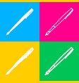 pen sign  four styles of icon on four vector image