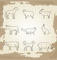farm animals thin line icons vector image