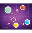 Flat design template with hexagon shape bubbles vector image vector image