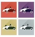 Set of flat icons with shadow bride and groom car vector image