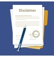 disclaimer document paper legal aggreement signed vector image