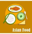 Asian dinner dishes of thai cuisine vector image