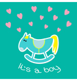 Baby boy shower card with cute horse Flat design vector image