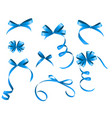 Blue Ribbon and Bow Set for Your Design vector image
