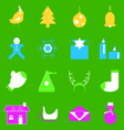 Christmas colorful icons on green background vector image