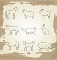 farm animals thin line icons vector image