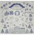 Hand Drawn Christmas Doodle Icons on Notebook vector image