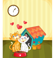 Kittens in love vector image