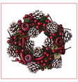red christmas wreath with fir cones vector image