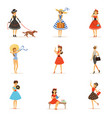 retro girls characters set beautiful young women vector image