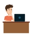cartoon man laptop desk e-commerce isolated design vector image
