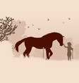 horse and girl vector image