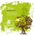 Hand drawn olive vintage background vector image