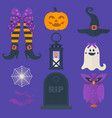 funny halloween icons set including sweets vector image