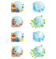 set of globes four seasons vector image