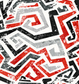 abstract grunge red curved lines seamless pattern vector image