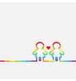 Gay marriage Pride symbol Two rainbow contour vector image