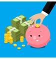 Cute fat piggy bank vector image