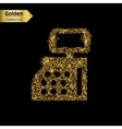 Gold glitter icon of cash register isolated vector image