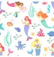cartoon mermaid seamless pattern on transparent vector image