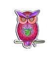 postcard with bright colorful owls vector image