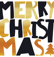 Merry Christmas Gold Greeting Card On white vector image vector image