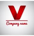 Icon of paper business logo letter v vector image
