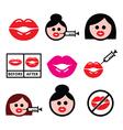 Big red lips lip augmentation icons - beauty vector image vector image