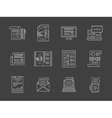 Advertising articles white line icons set vector image