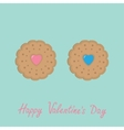 Biscuit cookie cracker couple with pink and blue vector image
