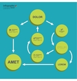 Corporate organization chart template with round vector image