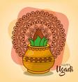 happy ugadi card template with pot coconut mandala vector image