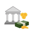 bank building with bill and currency isolated vector image