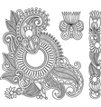 black flower doodle design elemen vector image