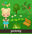 cute girl holding flower in garden vector image vector image