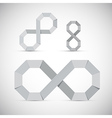 Paper Infinity Symbol Set on Grey Background vector image vector image