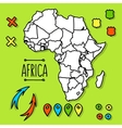 Hand drawn Africa travel map with pins vector image