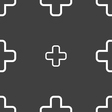 Plus icon sign Seamless pattern on a gray vector image