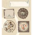 Set of vintage labels with landmarks vector image