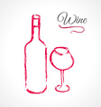 Bottle and glass of wine in ink grunge technique vector image