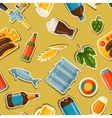 Seamless pattern with beer stickers and objects vector image vector image