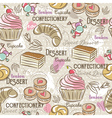 Background with cupcake croissan cake and bonbon vector image