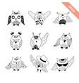hand drawn doodle owls set vector image